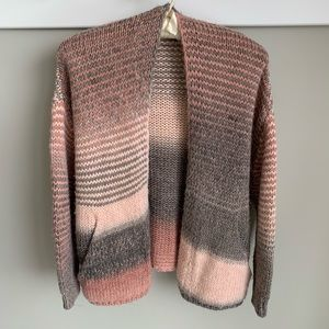 M Made in Italy pink/grey stripe open cardigan